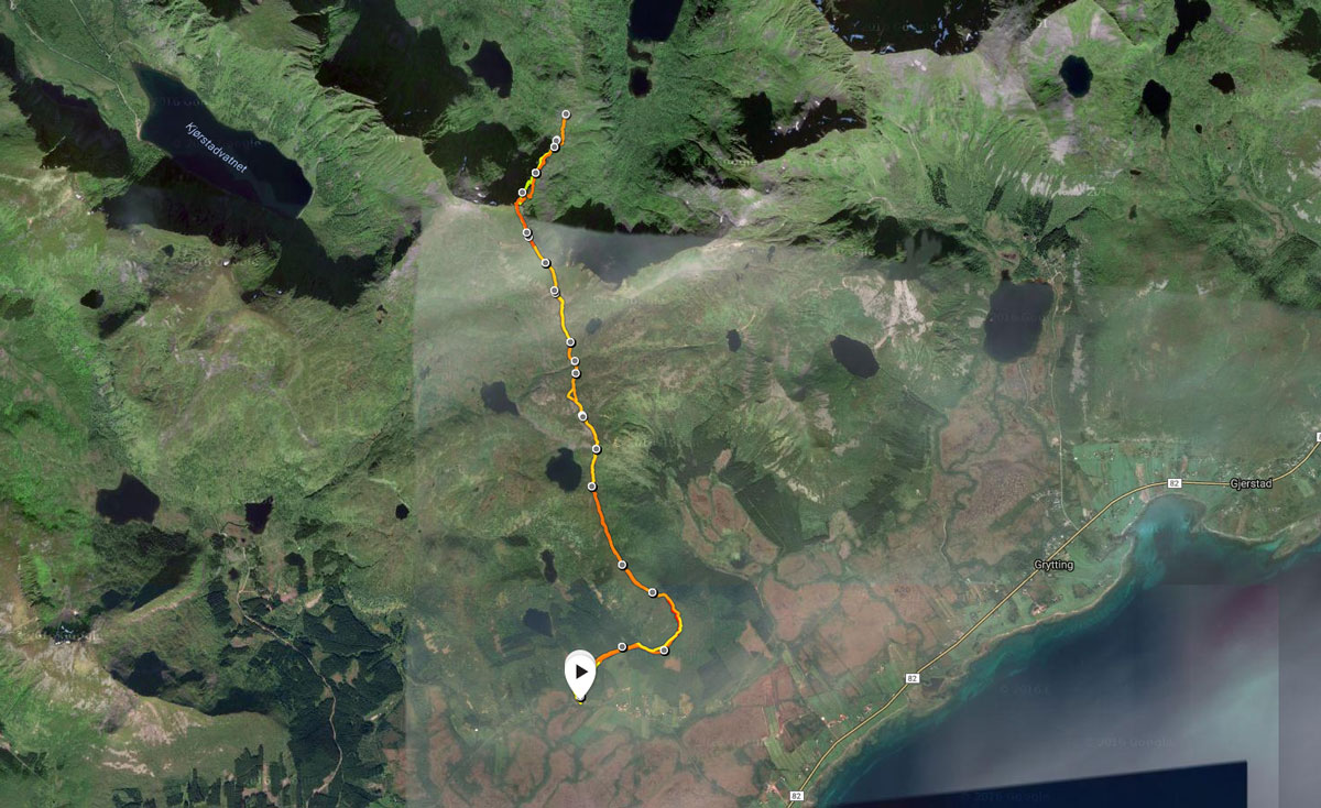 Rute til Nertjønna og Slåttnesdalen.