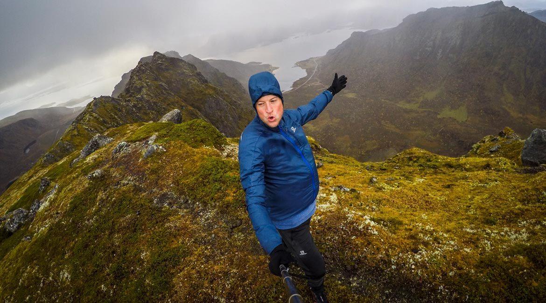 Det var blesende på toppen av Småtindan 677 moh.