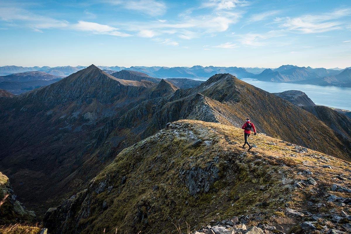Her ses fjellryggen fra Breielvtinden til Skata. Helt magisk!